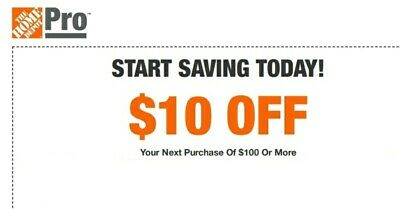 Home Depot $10 OFF $100 Promo.1Coupon In-store Only-Not 5 15 20-sent in 1 min!