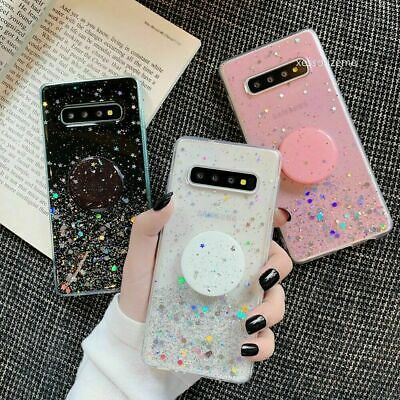 Clear Case With Pop Up Holder phone Cases Socket Relief for Samsung A10 A70 A50