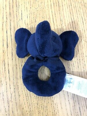 Ralph Lauren Baby Boy Plush Elephant Navy Blue Rattle VGC