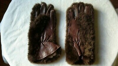 Ladies Vintage Real Fur and Brown Leather Gloves