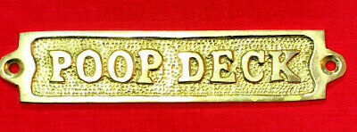 Poop Deck Door Sign Plaque Sign Brass Nautical Maritime Boat Ship Decor