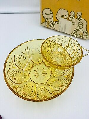 Vintage Anchor Hocking 3 Piece Chip And Dip Set In Orig Box Honey Gold