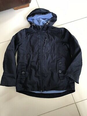 Boys dark blue hooded light weight lined jacket size 8-9 yrs From George
