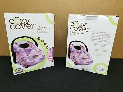 Cozy Cover Infant Carrier Cover - Secure Baby Car Seat Cover - Camo Pink