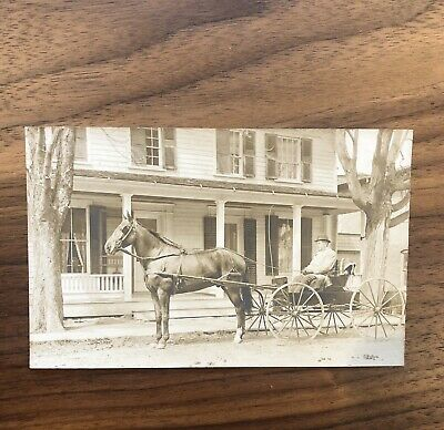 RPPC MAN in HORSE DRAWN BUGGY CARRIAGE ANTIQUE REAL PHOTO POSTCARD
