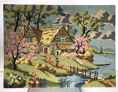 "VTG MARGOT Creations de Paris Farm House  Needlepoint  Cottage 18""24"" France"