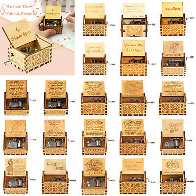 Mini Antique Wooden Music Box Hand Cranked Musical Box New Year Birthday Gifts