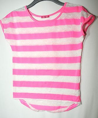White Pink Striped Grils Stretchy Casual Top Size 1/13 Years 158Cm Yd