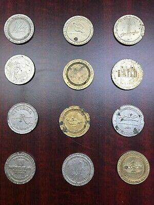 Lot Of 12 Old $1 Slot Machine Token Coin Casino Las Vegas Tokens Various