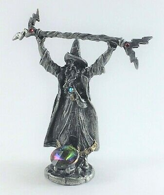 Pewter Thunderbolt Wizard with Crystal Accents