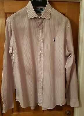Super Cool 100% Genuine Ralph Lauren Regent Custom Fit Striped Shirt In Size 17