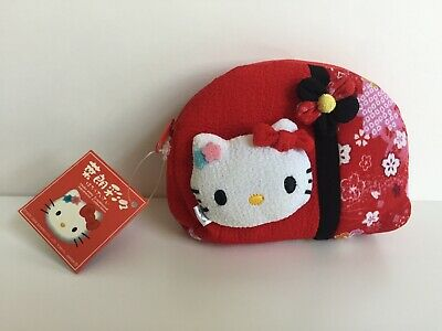 Sanrio Hello Kitty Traditional Japanese Collection Coin Purse Pouch NEW 2006 RED