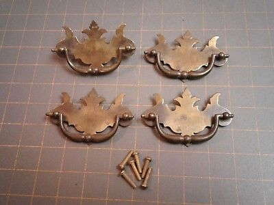 VTG Furniture Drawer Pulls Bail Chippendale Thistle Batwing Canada CP-2473 5
