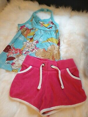 Girls 4-5 years floral vest top t-shirt towelling Shorts beach outfit next