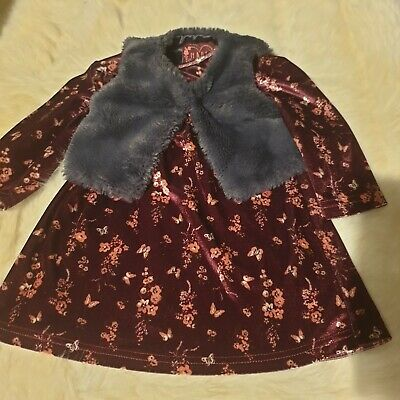 girls 9-12 months floral long sleeve dress with fur vest outfit clothes next day
