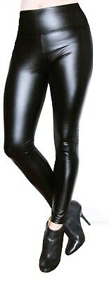 Thermo Biker Leggings Legging Wet Leder Optik  Schwarz  Gefüttert
