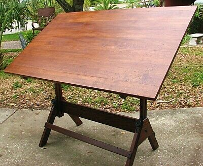 ANTIQUE DRAFTING TABLE *DIETZGEN* OAK & IRON c.1920'S