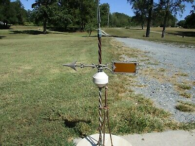 RARE Antique Vintage Weather-vane Lightning Rod Glass Amber Tail Arrow