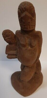 Ancient/Antique? Maori Hand Carved Wooden Fertility God & Child Statue Figurine