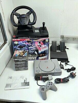 SONY PS1 PlayStation One Console DRIVING Games Bundle - 14 Games!