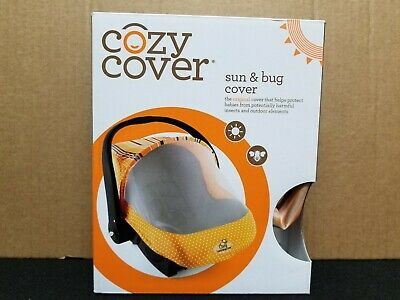 Cozy Cover - Sun & Bug Cover - Infant Carrier Cover - Dots & Stripes - Orange