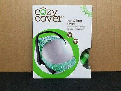 Cozy Cover - Sun & Bug Cover - Infant Carrier Cover - Dots & Stripes - Green