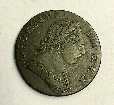 1775 Great Britain 1/2 Penny, King George III, Colonial Era Copper Coin, Fine
