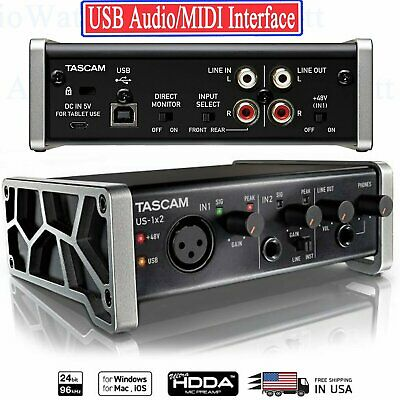 Tascam US-1x2 USB Audio/MIDI Interface with Microphone Preamps iOS Compatibility