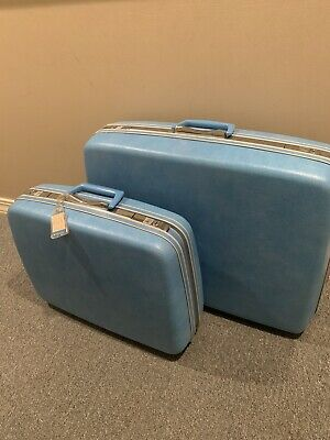 EXQUISITE Vintage Samsonite Luggage Set, Silhouette Blue, w/key Perfect Interior