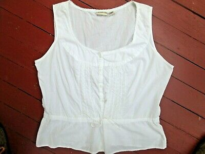 Vintage white cotton lace camisole top Victorian style cropped drawstring XL 80s