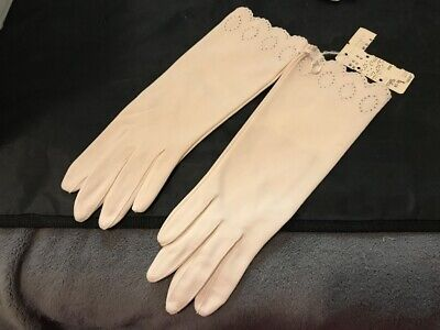 Vintage Ladies Womens Gloves Nylon Off White Cream Cutout Edging Sz Regular #D