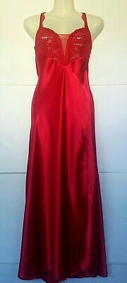 Vtg Victoria's Secret Red Satin & Lace Nightgown High Slit Small
