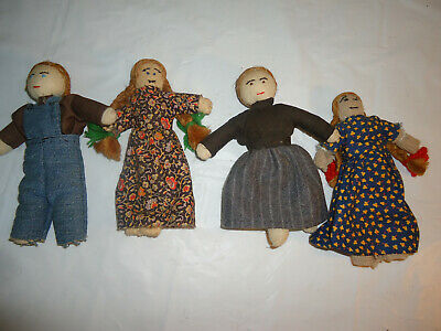 Lot of 4 ANTIQUE hand made primitive cloth doll hand sewn