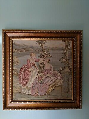 Antique French Scenic Romantic Tapestry Aubusson Style Framed