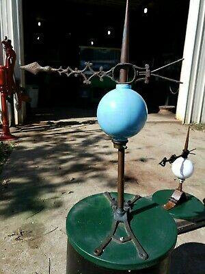 Antique Barn Weathered Lightning Rod ,Directional &  Glass Ball Globe with base!