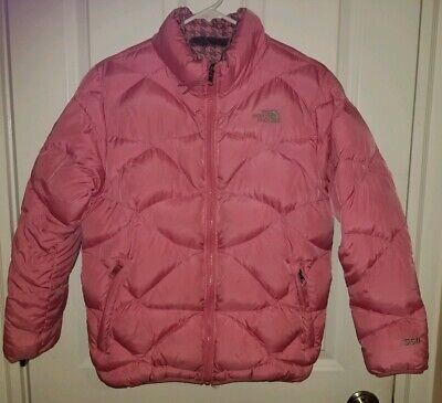 The NORTH FACE Kids Girls 550 Down Puffer Jacket Pink Grey Reversible Size XL 18