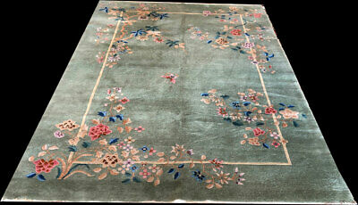"""An Antique 6' x 9"""" Green Ground Art Deco Chinese Rug"""