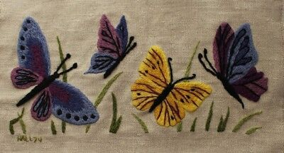 Vintage Butterflies Crewel Embroidery Completed Finished Purple Blue Yellow