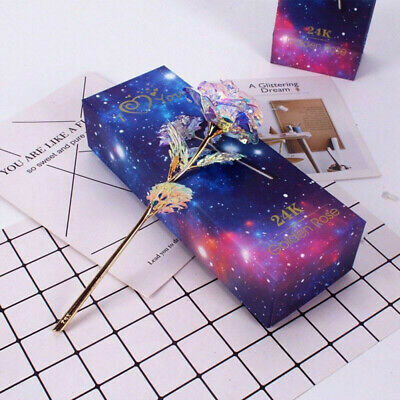 Galaxy Rose Flower Valentine's Day Lovers Gift Romantic Crystal Rose&Box AU