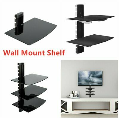 3 Wall Mount Shelf Floating Blacks Glass Bracket For Sky TV Xbox PS4 DVD Shelves