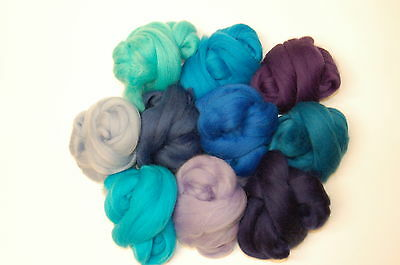 Blue Merino Wool roving / tops  - 10 aqua hues -wet / needle felting  & spinning