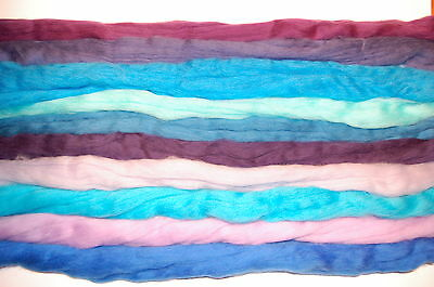 Blue Merino Wool dyed roving / tops - 10 pack 60g  needle felting  wet felting
