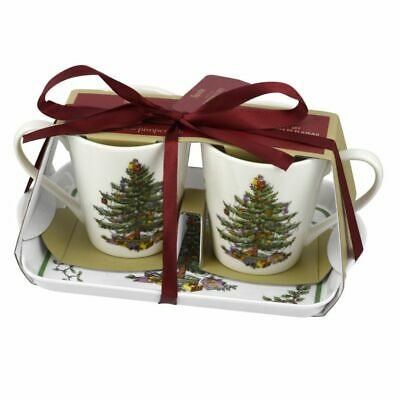 NEW!  Pimpernel Christmas Tree Mug & Tray Set Christmas Tree Spode Portmeirion