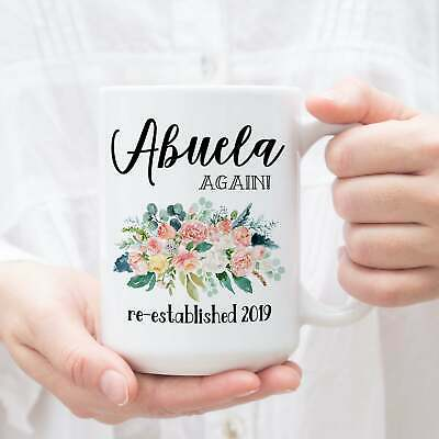 Abuela Again Mug Pregnancy Reveal Gift For Grandparents Baby Announcement Coffee