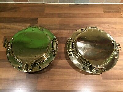 Pair of Original Vintage Brass SL Ships Portholes Maritime Marine Boat Nautical