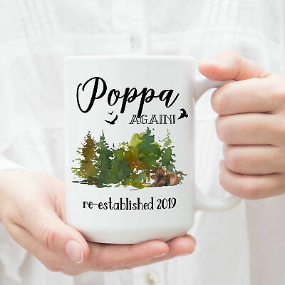 Poppa Again Mug Pregnancy Reveal Gift For Grandparents Baby Announcement Coffee