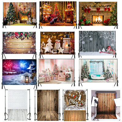 Christmas Photo Photography Props Wooden Backdrop Cloth Vinyl Background New UK