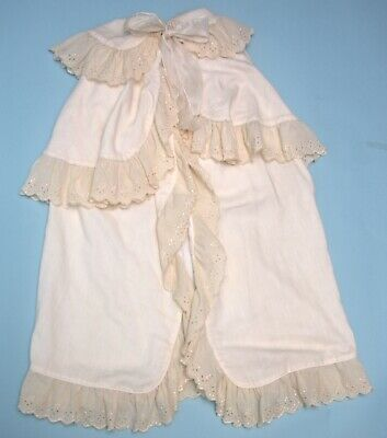 Antique Victorian Christening Cape Cream wool with Broderie Anglaise
