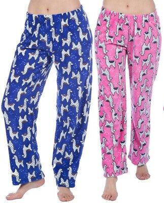 Girls 2 Pk LLAMA Print SuperSoft Fleece Lounge Pants Pyjama Bottoms AGE 5/6,9/10