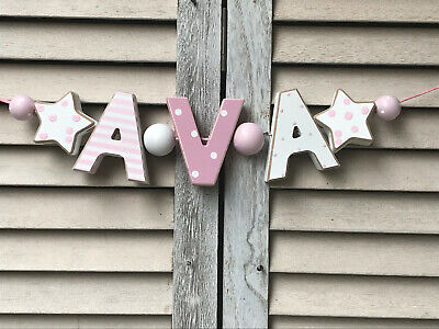 """Ava"" Pink Wooden Letters Baby Name Nursery Decor Personalized Babyname Shabby"